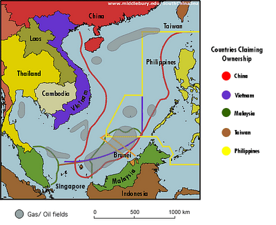 Known Oil fields Overlayed with Competing Territorial Claims